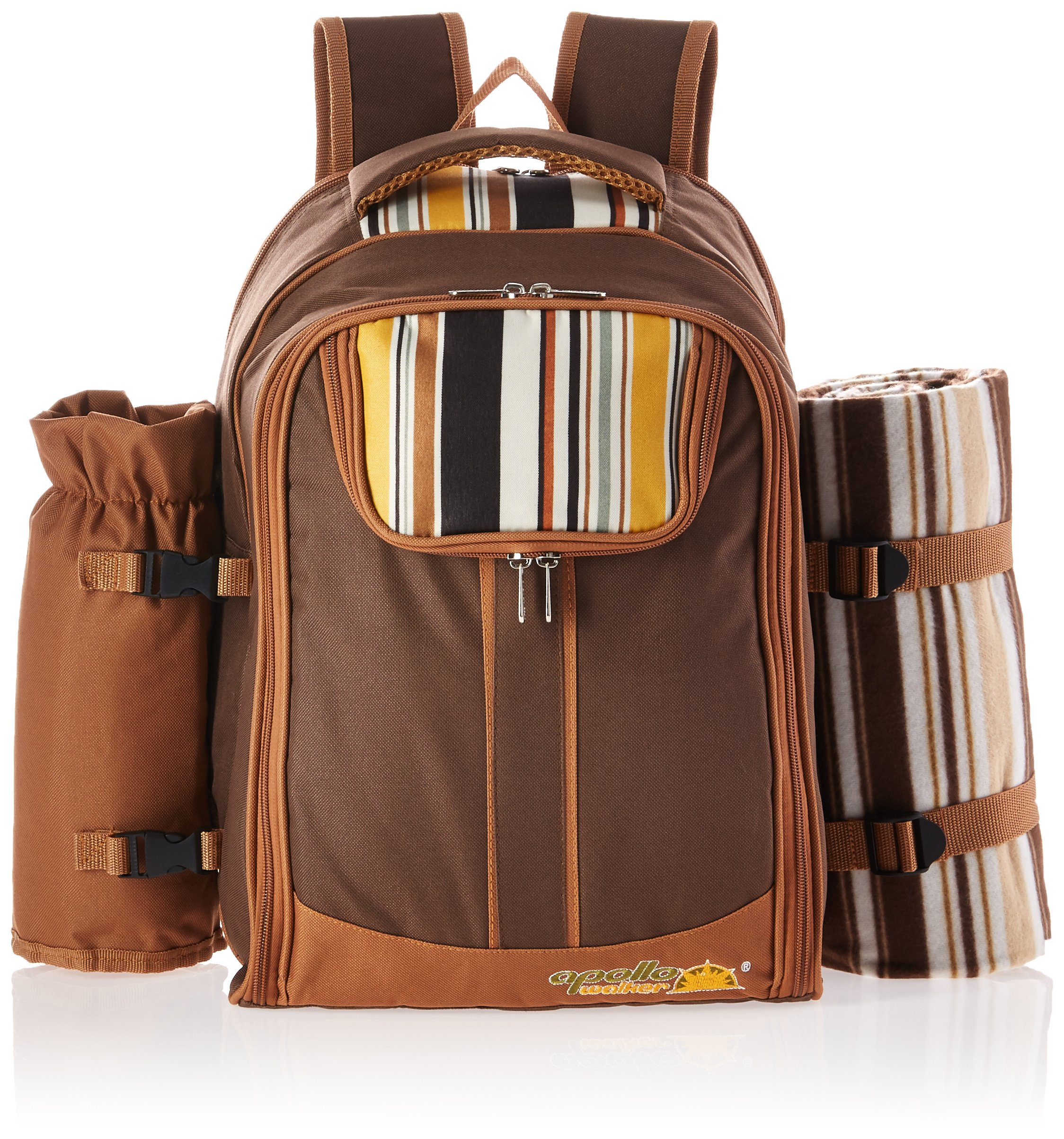 Ferlin Picnic Backpack for 4 with Cooler Compartment, Detachable Bottle/Wine Holder, Fleece Blanket, Plates and Cutlery Set (Coffee) by Ferlin