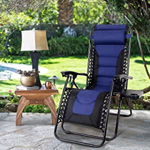 MAISON ARTS Padded Zero Gravity Lounge Chair Anti Gravity Lawn Chair Adjustable Recliner w/Pillow & Cup Holder Outdoor Camp Chair for Poolside Backyard Beach, Support 300lbs, Blue