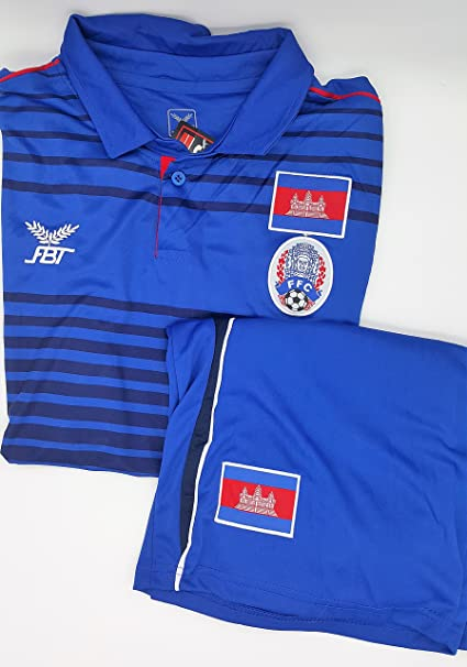FBT - Shirt + Shorts Cambodia national football team Soccer Jersey Blue Size S