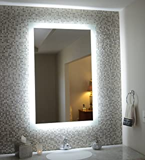 Amazoncom Wall Mounted Lighted Vanity Mirror MAM Commercial - Commercial grade bathroom mirrors