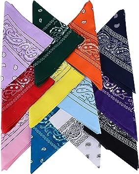 Sungkeen Bandanas Paisley Headbands for Men and Women,6 Pack Cotton Scarf Face Shield Headwear for Hip-Hop Cycling-Multicolour