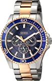 GUESS Men's U0172G3 Two-Tone Rose Gold-Tone Watch with Blue Multi-Function Dial
