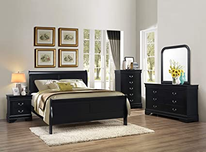 Gtu Furniture 5pc Queen Size Sleigh Bedroom Set Louis Philippe Style In Black Finish Black Amazon Ca Home Kitchen