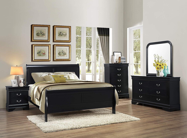 Amazon.com: GTU Furniture 5pc Queen Size Sleigh Bedroom Set Louis ...