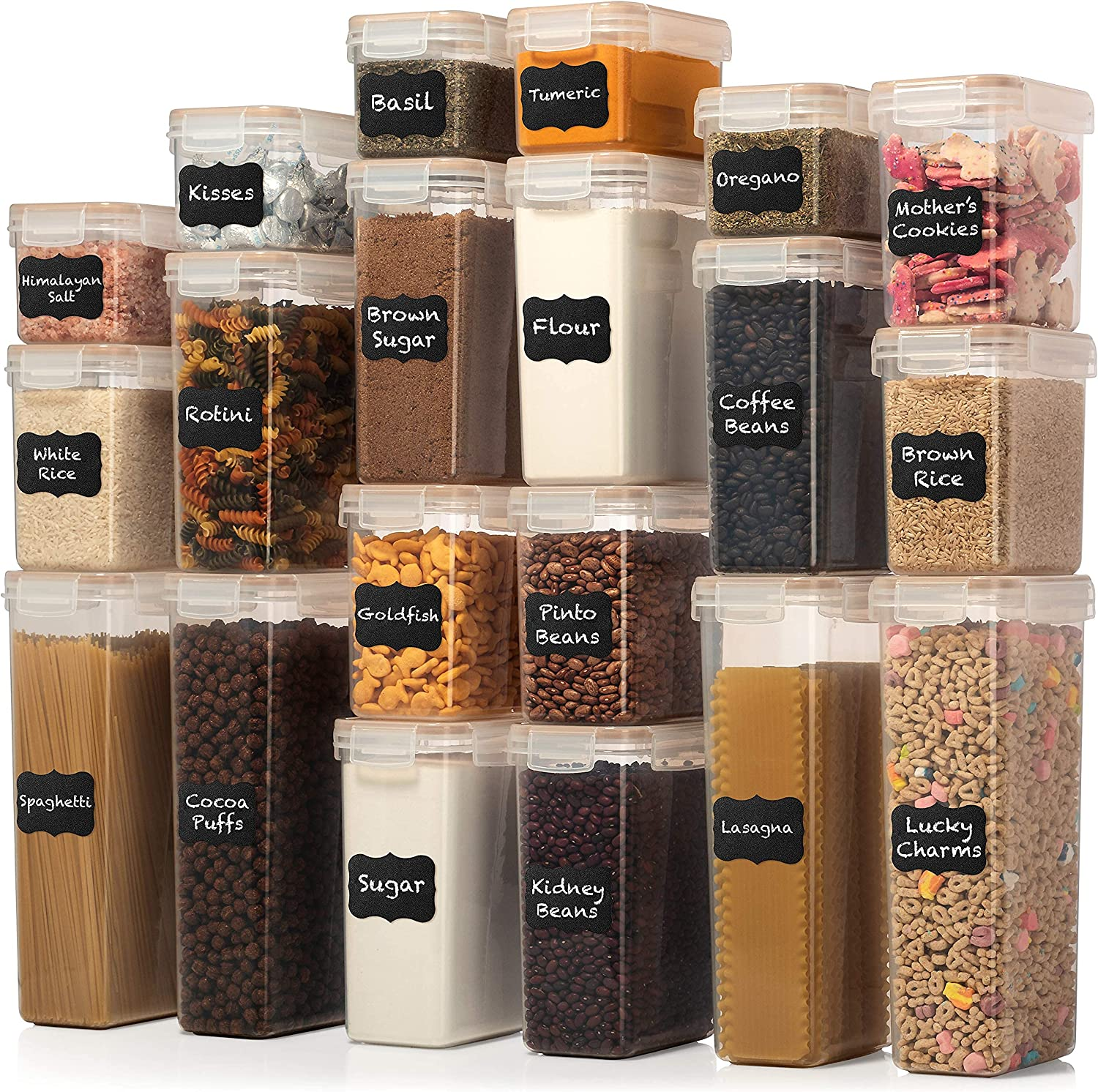 LARGE SET Airtight Food Storage Container Set - 20 PC - Kitchen & Pantry Organization - BPA-Free - Plastic Canisters with Durable Lids Ideal for Cereal, Flour & Sugar - Labels, Marker
