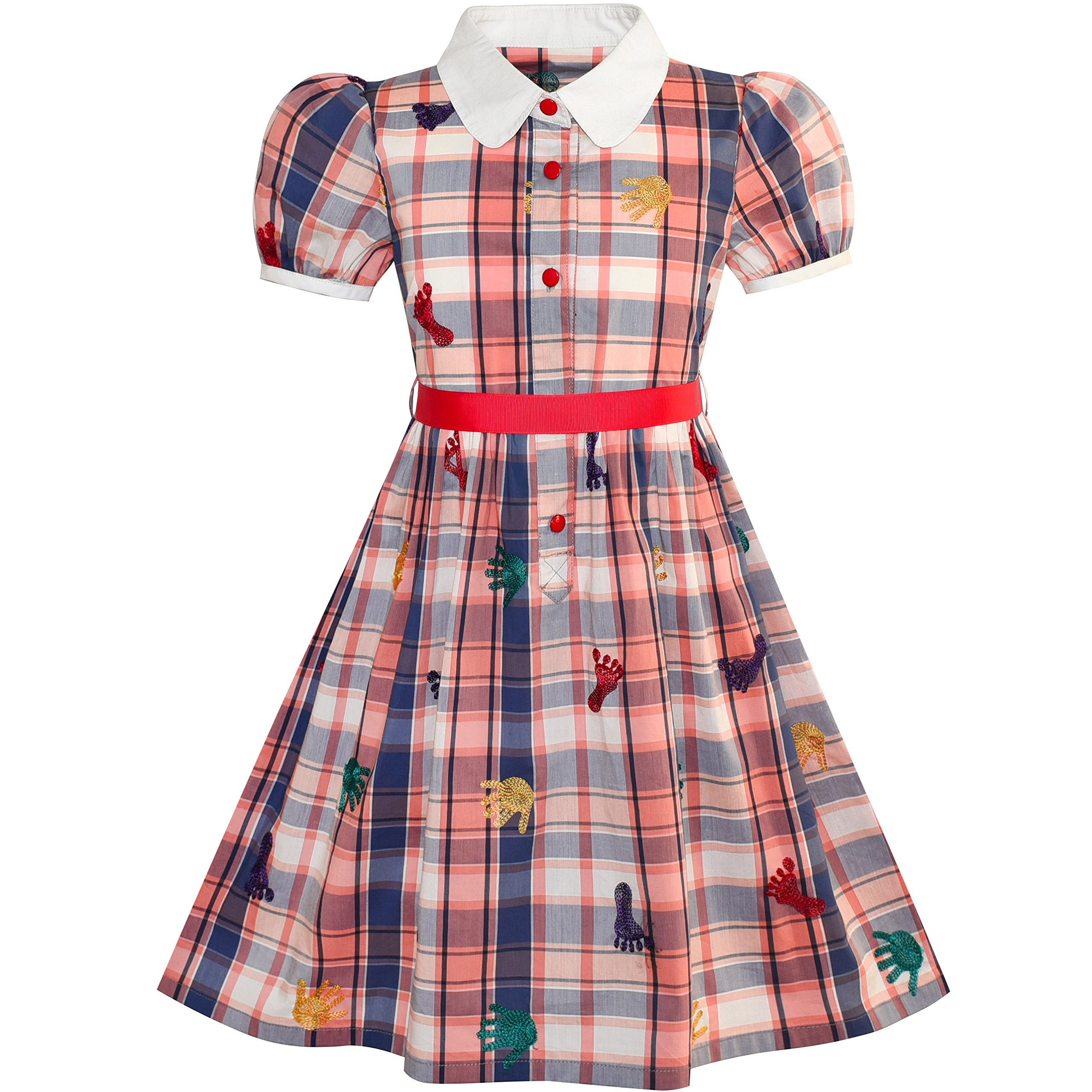 Sunny Fashion LW12 Girls Dress School Foot Hand Print Embroidery Gingham Size 5