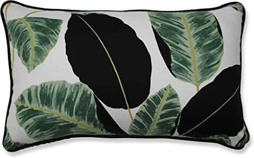 Pillow Perfect Hojas Cubanas Rainforest Throw Pillow, Rectangular, Black