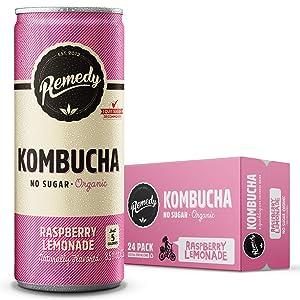 Remedy Raw Organic Kombucha Tea - Sparkling Live Cultured Drink - Sugar Free Raspberry Lemonade - 8.5 Fl Oz Can, 24-Pack