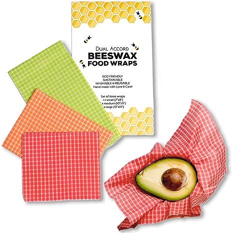 Organic Beeswax Wrap - Zero Waste Reusable Food Wraps | Eco Friendly,  Sustainable, Biodegradable, Food Storage Alternative to Plastic Wrap | 3  Pack