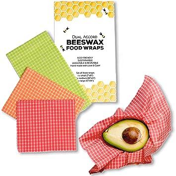 e9eefe5396390 Organic Beeswax Wrap - Zero Waste Reusable Food Wraps | Eco Friendly,  Sustainable, Biodegradable, Food Storage Alternative to Plastic Wrap | 3  Pack ...