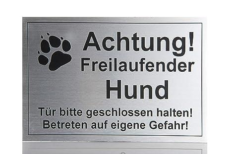 Hier Bitte Nicht-aluminium-edelstahl-optik-schild-15 X 10cm-warnschild-hund-top Haustierbedarf