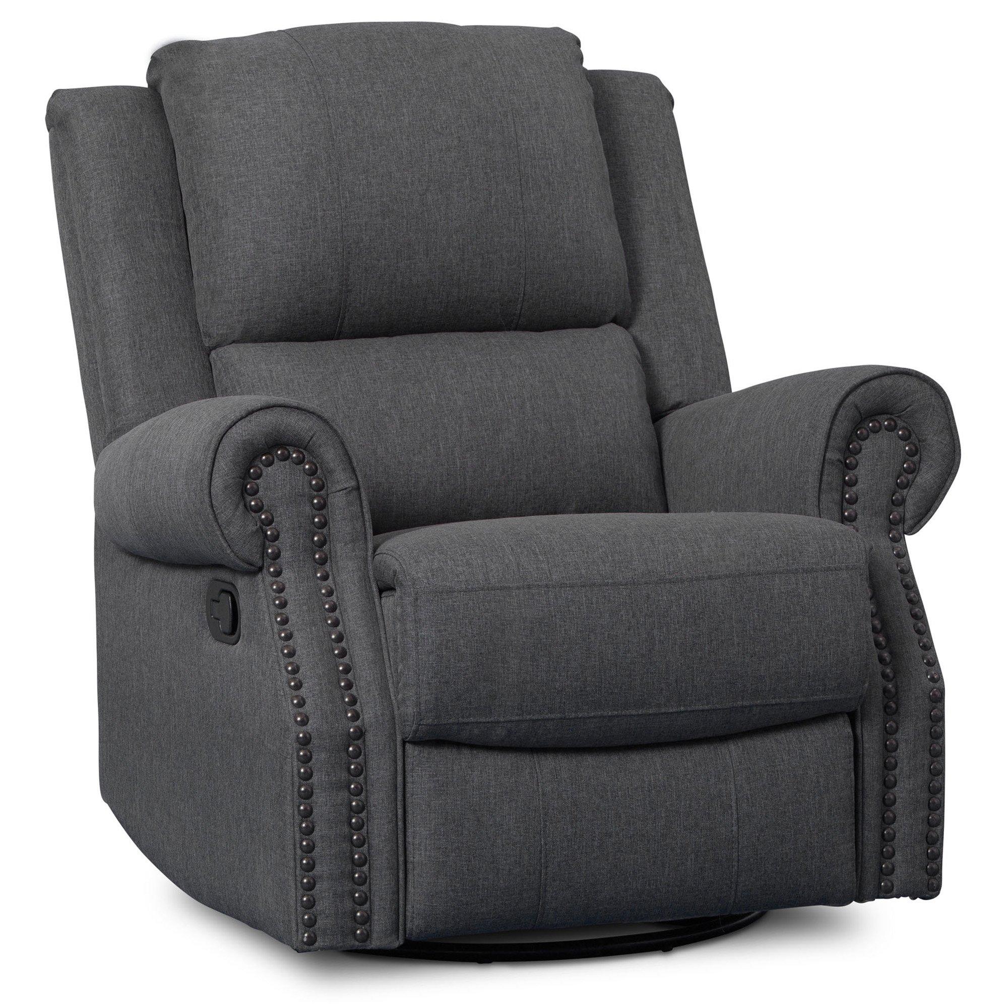Delta Children Dylan Nursery Recliner Glider Swivel Chair, Charcoal
