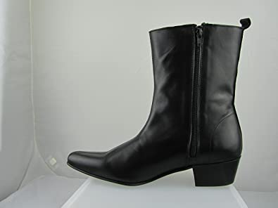 771cbcadb35 NEW RETRO OF LONDON MEN ZIP BEATLES BEAT BOOTS WINKLE LENNON BLACK LEATHER  HI CUBAN HEEL