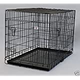 """Large 42"""" Folding Pet Dog Cat Crate Cage Kennel With Plastic Tray *Black*"""