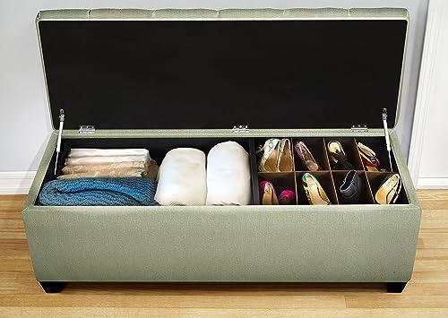 MJL Furniture Designs Sole Secret Duo Shoe And Linen Storage Bench Seafoam - a good cheap ottoman chair