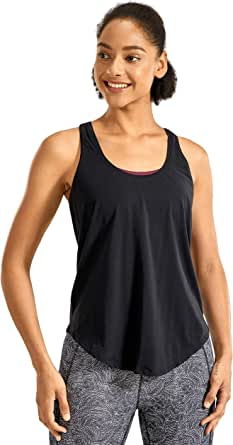 CRZ YOGA Women's Lightweight Pima Cotton Workout Tank Tops-Soft Racerback Athletic Yoga Tanks