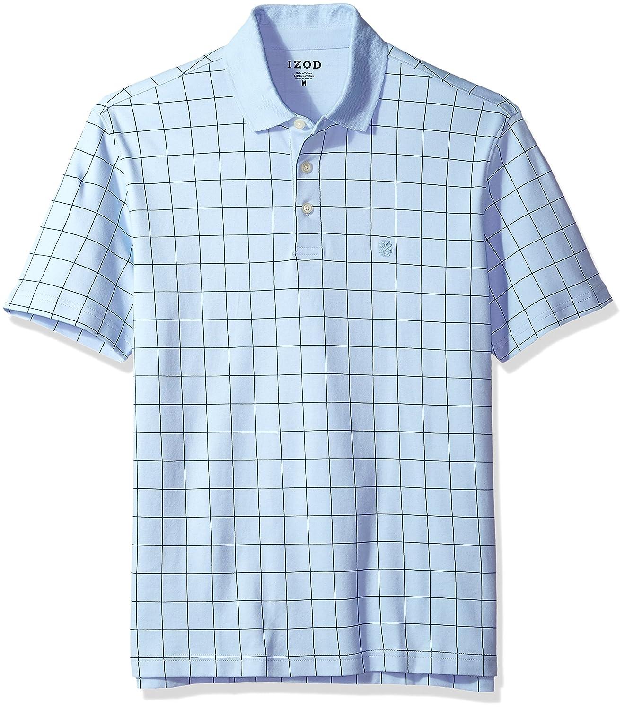 Izod Mens Interlock Short Sleeve Windowpane Polo Shirt At Amazon