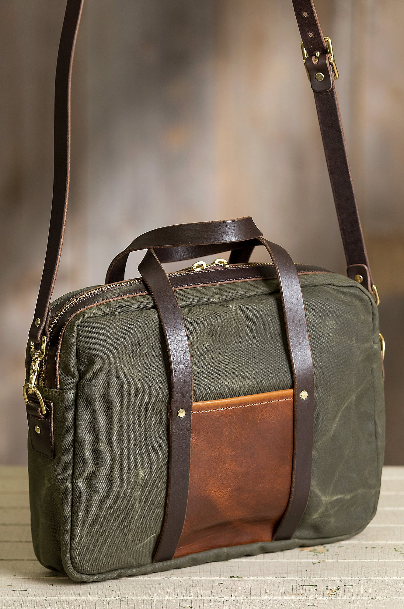 Heritage Canvas and American Bison Leather Briefcase by Overland Sheepskin Co (Image #3)