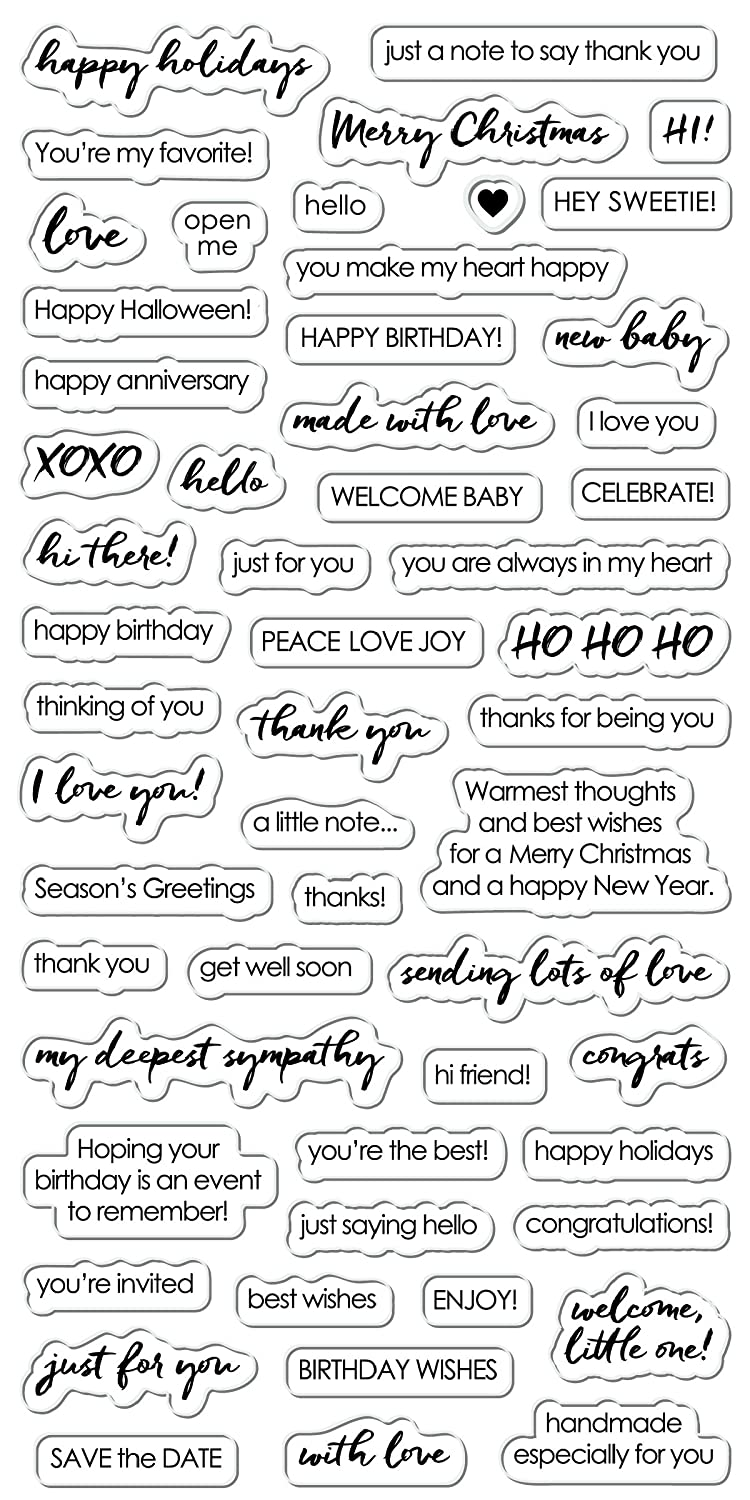 Amazon.com: Fisakrs 4x8 Inch Clear Stamps- Essential Sayings: Arts ...
