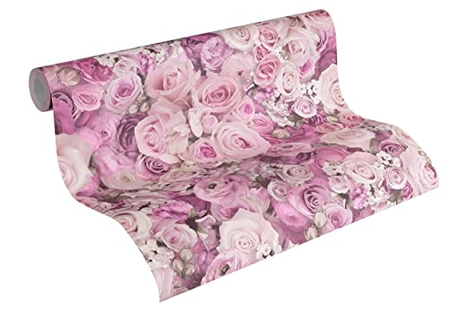 A.S Cr/éation Vliestapete Urban Flowers Tapete floral 10,05 m x 0,53 m lila Made in Germany 327224 32722-4