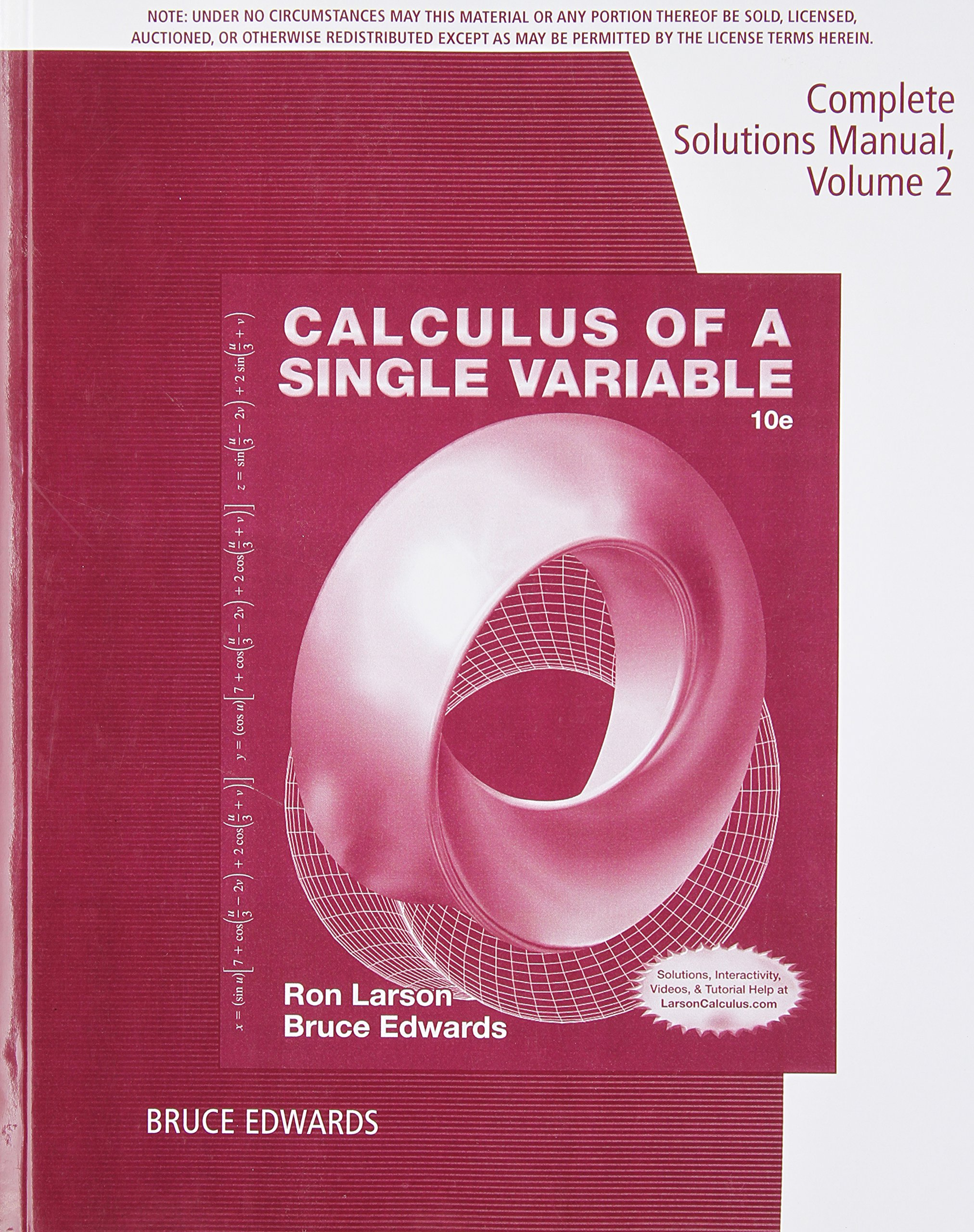 Complete Solutions Manual, Volume 2, Chapters 7-11 for Larson/Edwards?  Calculus of a Single Variable, 10th: 9781285085777: Amazon.com: Books