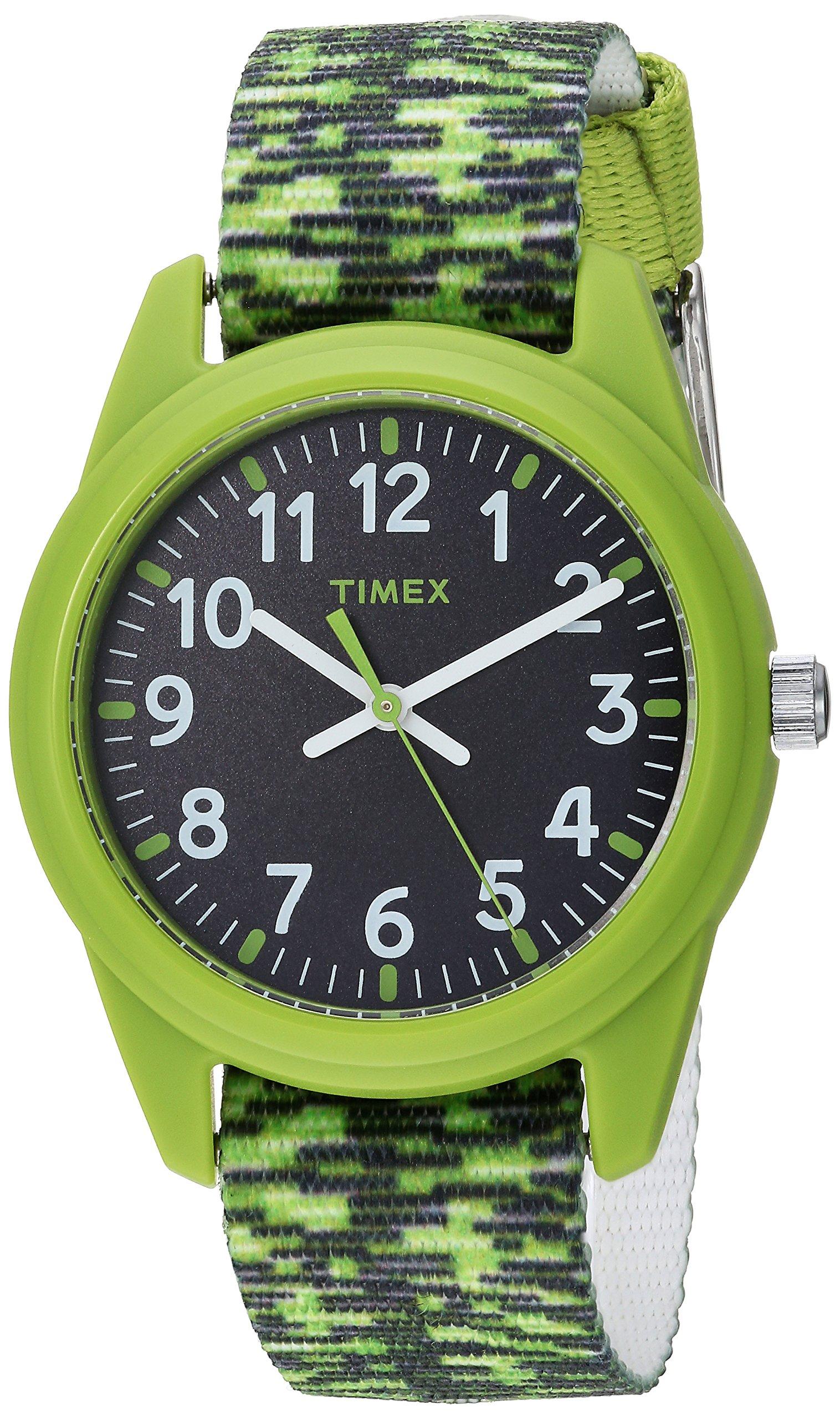 Timex Boys TW7C11900 Time Machines Green/Black Sport Elastic Fabric Strap Watch