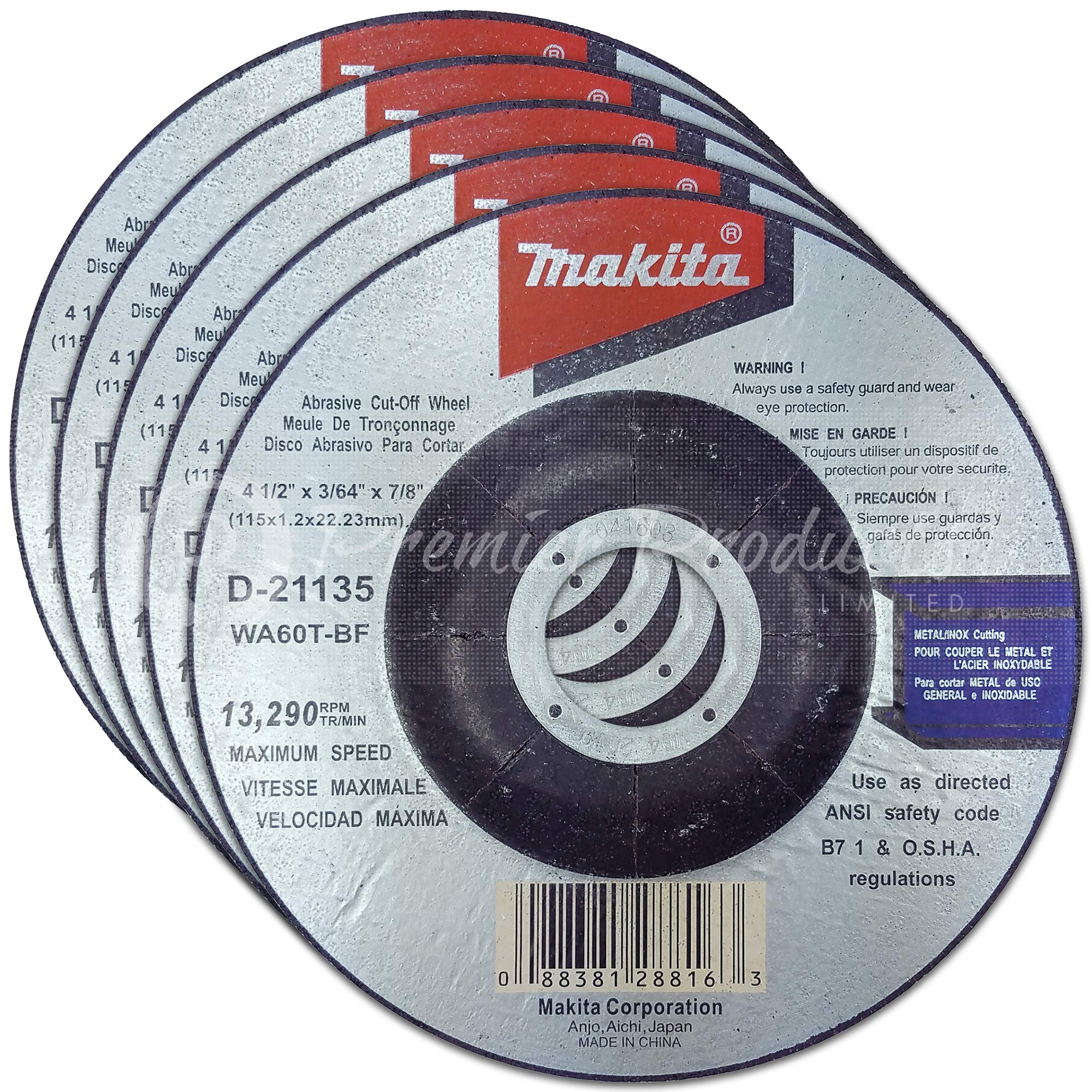 Makita 5 Pack - 4.5'' Cut Off Wheels For Grinders - Flush Cutting For Stainless Steel & Metal - 4-1/2'' x .045 x 7/8-Inch