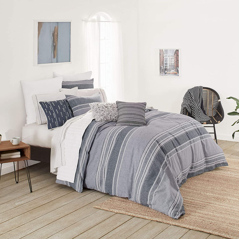 Splendid Home Tuscan Stripe Comforter Set, Twin, Moody Blue/Multi