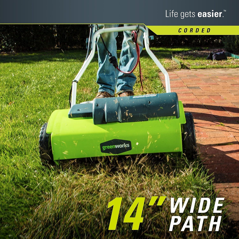"greenworks 10 and 14"" corded dethatcher walk"