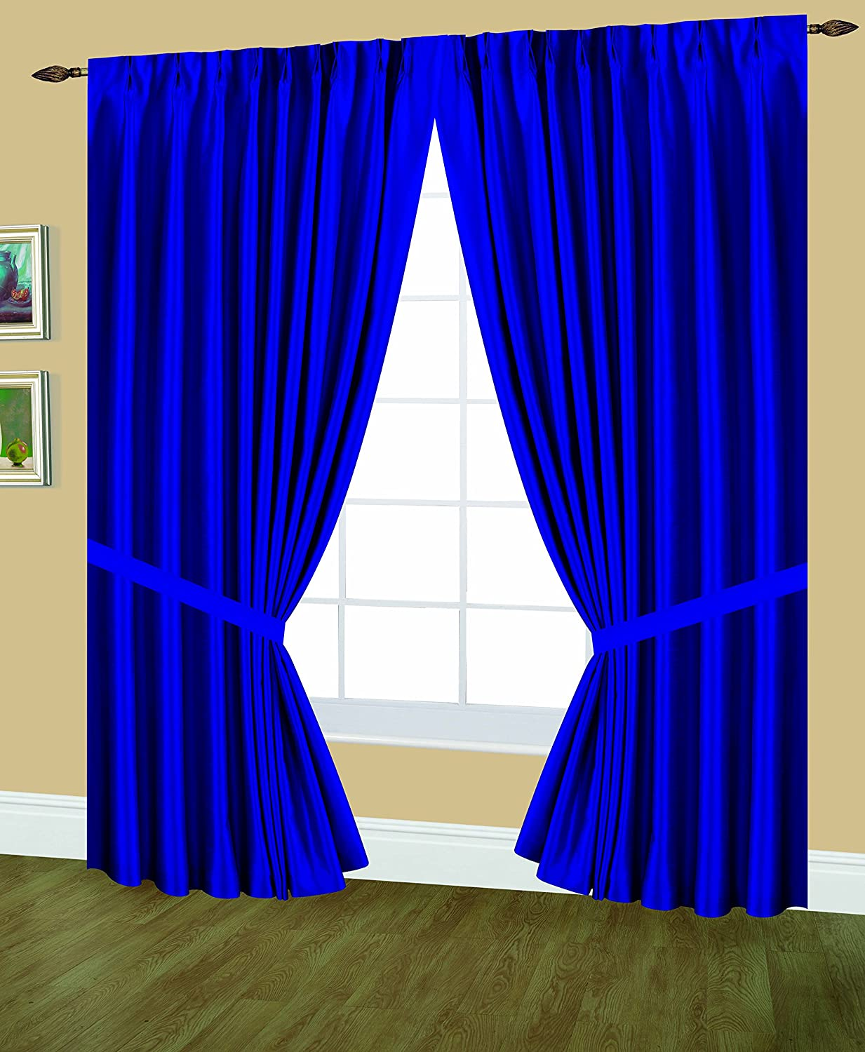 Editex Home Textiles Elaine Lined Pinch Pleated Window Curtain, 48 by 95-Inch, Navy