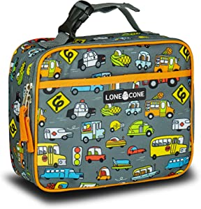 LONECONE Kids' Insulated Fabric Lunch Box - Fun Patterns for Boys and Girls, Fast Food (Cars), Standard