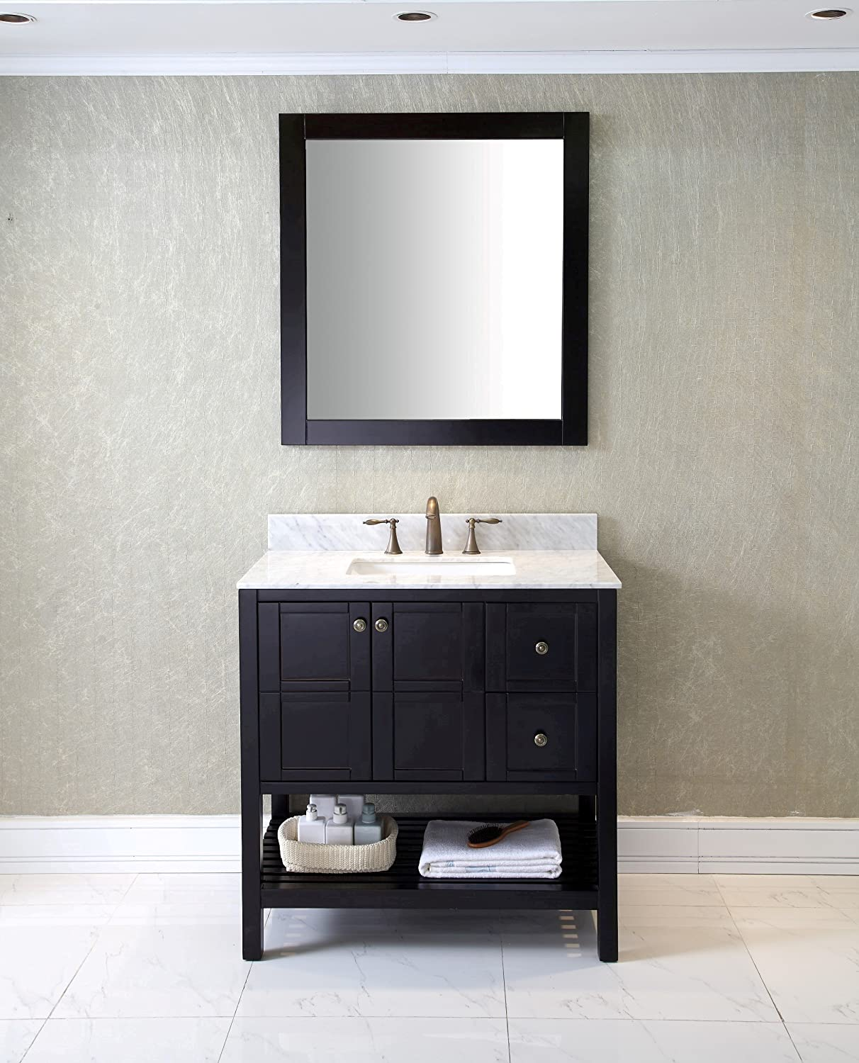 marvelous vanity bathroom left projects decor with side carrara vanities inch incredible drawers marble com ideas off white top on design home silkroad the simple pictures center exclusive amazon