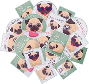 Navy Peony Playful Pug Sticker Set (18-Pack) - Waterproof, Durable, Dog Themed | Square, Vertical Stickers for Planners | Big, Round Decals for Laptops, Water Bottles