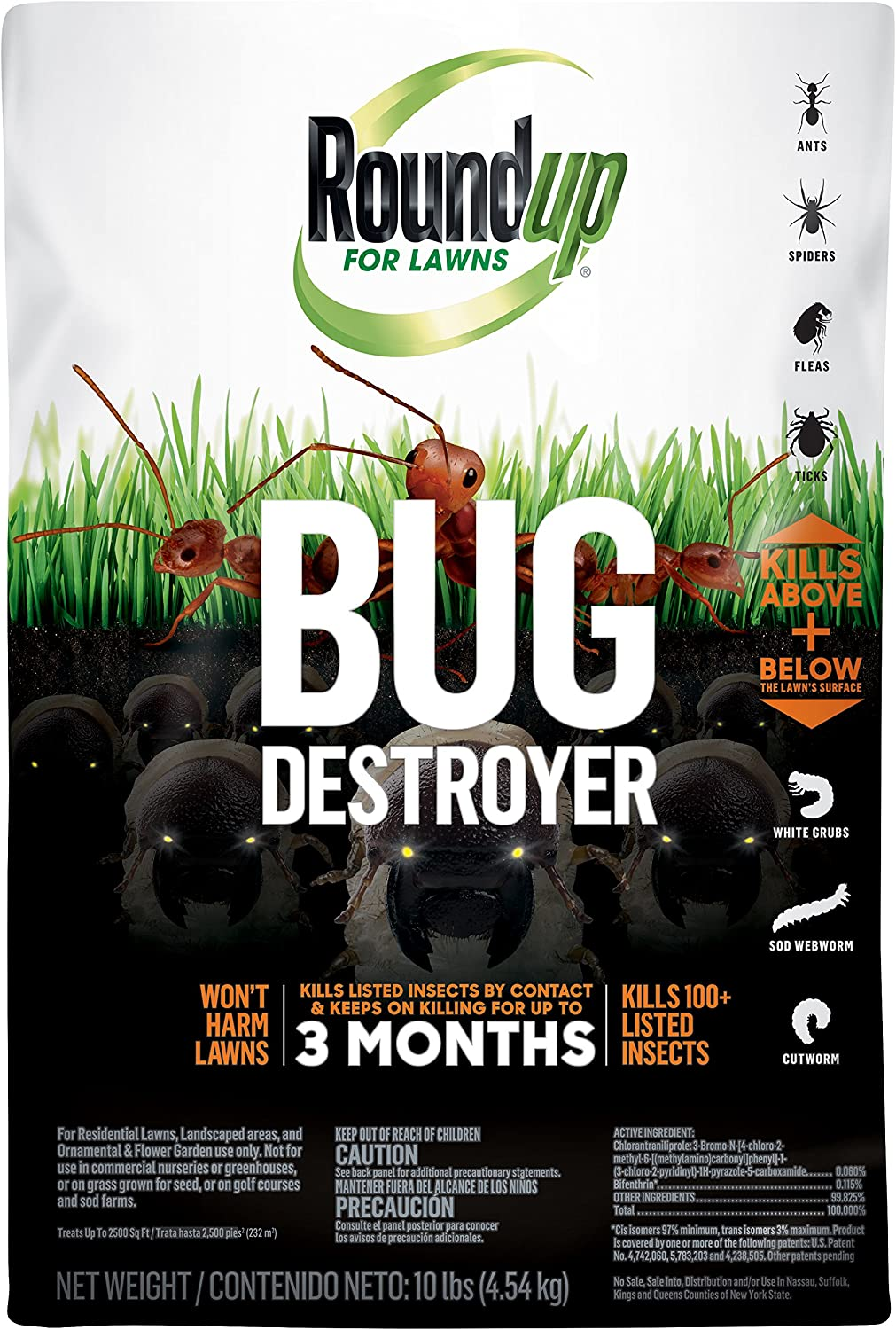 Roundup for Lawns Bug Destroyer - Kills Ants, Spiders, Fleas, Grubs, Ticks for up to 3 Months, Use on Residential Lawns, Home Perimeters, Ornamental & Flower Gardens, Treats up to 2,500 sq ft, 10 lb.