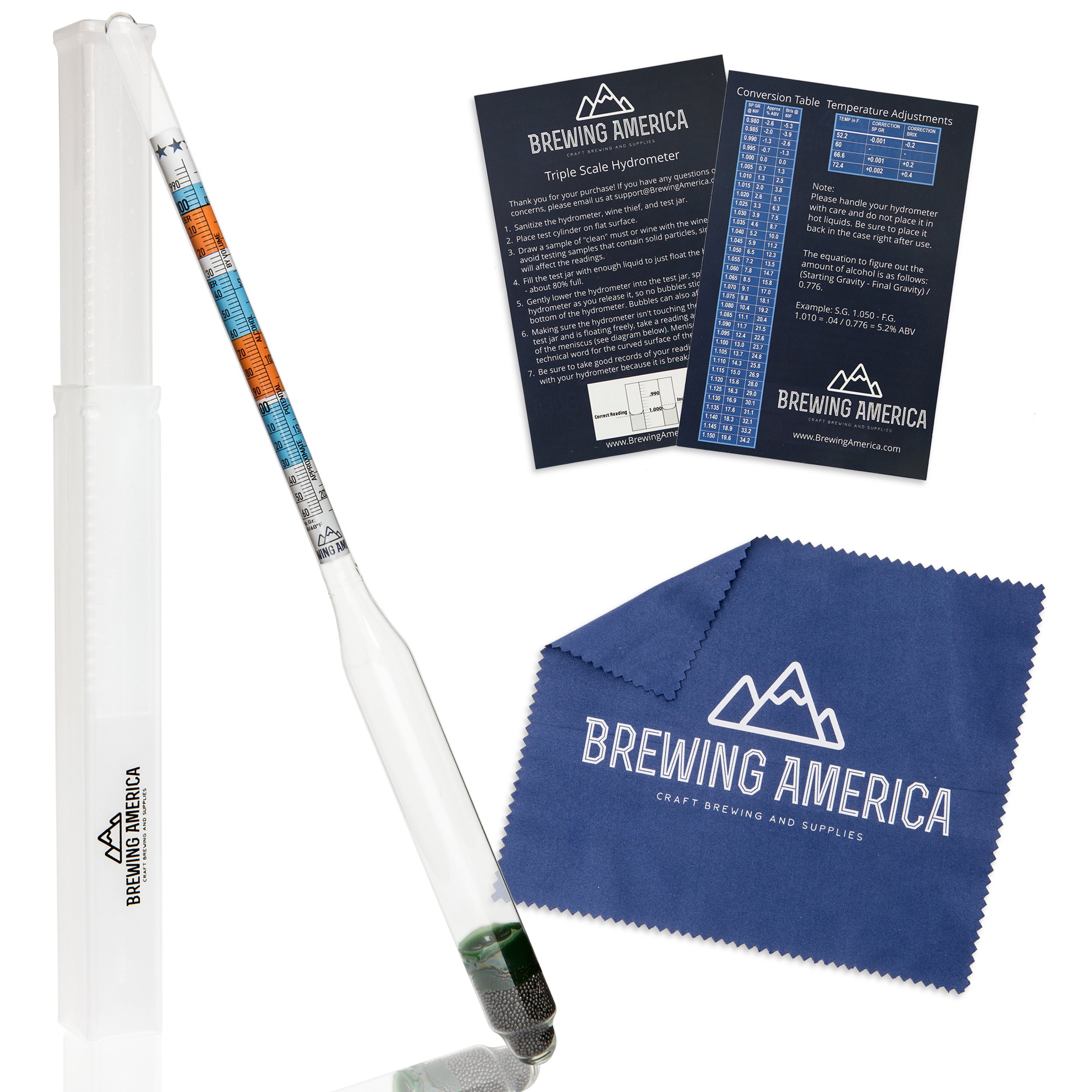Specific Gravity Hydrometer Alcohol Tester - for Brewing ABV Testing: Beer, Wine, Cider, Mead Homebrew Fermented Beverages - Triple Scale Hydrometer by Brewing America