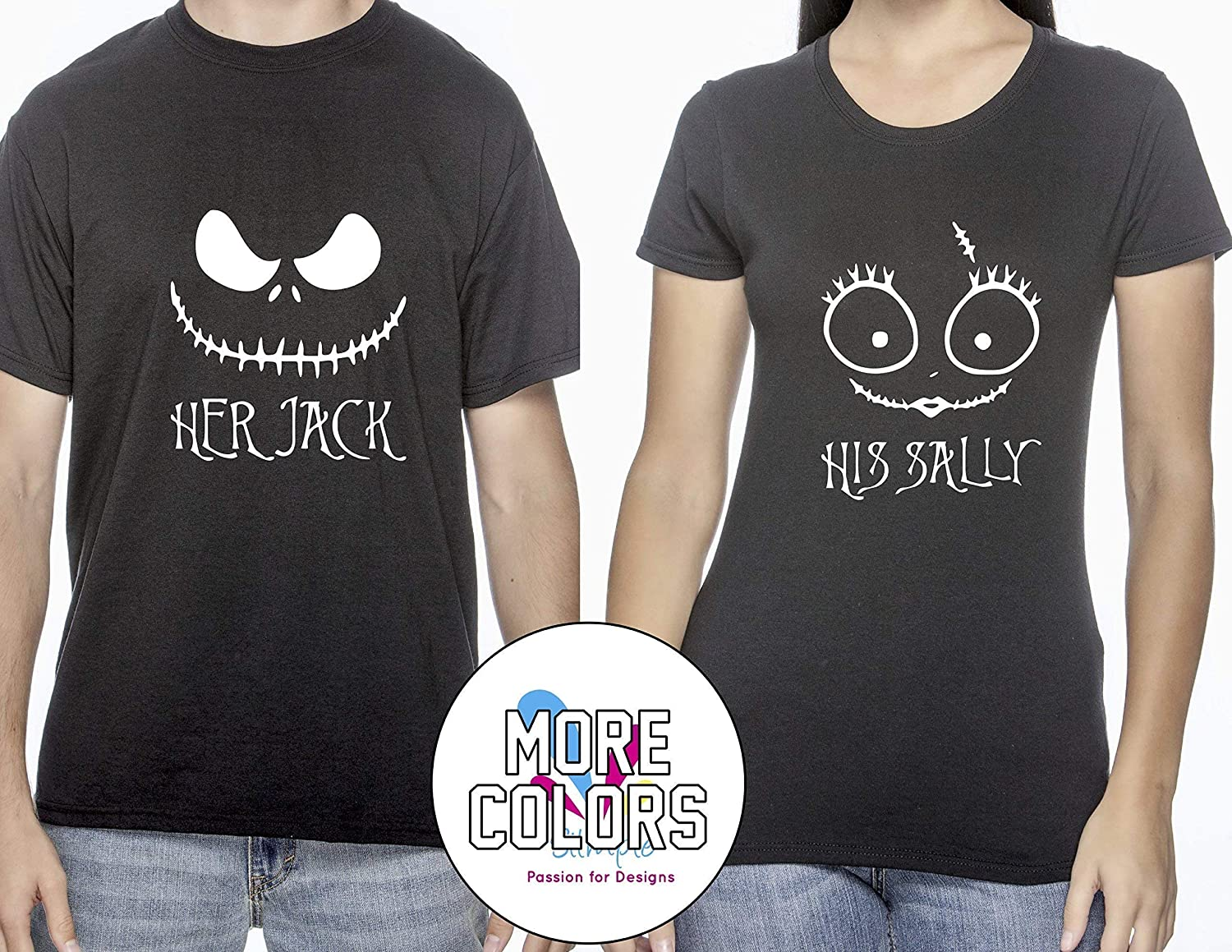 947be427d6 Amazon.com: Her Jack/His Sally Nightmare Before Christmas Romantic Couples  T-Shirts Matching Shirt T-Shirt Funny Tee Gift for Him Her Halloween:  Handmade