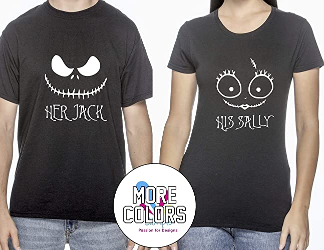 2b2ae84d Amazon.com: Her Jack/His Sally Nightmare Before Christmas Romantic Couples T -Shirts Matching Shirt T-Shirt Funny Tee Gift for Him Her Halloween:  Handmade