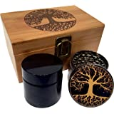 Tree of Life Stash Box Combo - Full Size Titanium 4 Part Herb Grinder - UV Glass stash jar - Engraved Wood Stash Box - Smell Proof and Airtight (Tree of Life)
