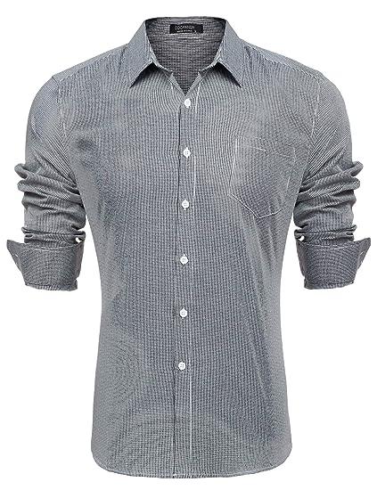 purchase cheap 2115a 0da98 Coofandy Herren Hemd Langarm Kariert Regular Fit Business Freizeithemd  Kentkragen Männer Hemden Eleganz