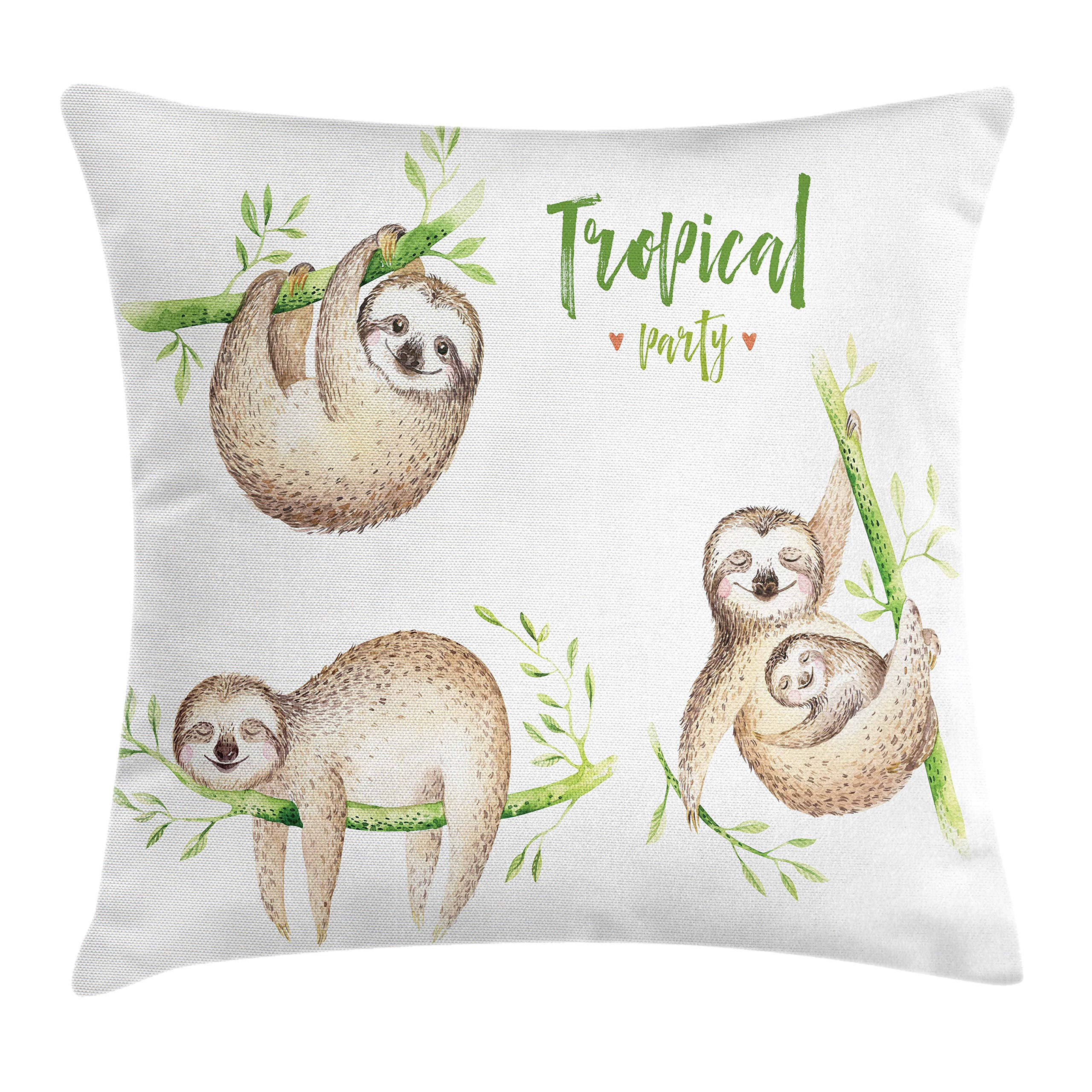Ambesonne Sloth Throw Pillow Cushion Cover, Cute Babies in Tropical Nature Theme Exotic Palm Tree Leaves Nursery Aloha, Decorative Square Accent Pillow Case, 18 X 18 Inches, Light Brown Green