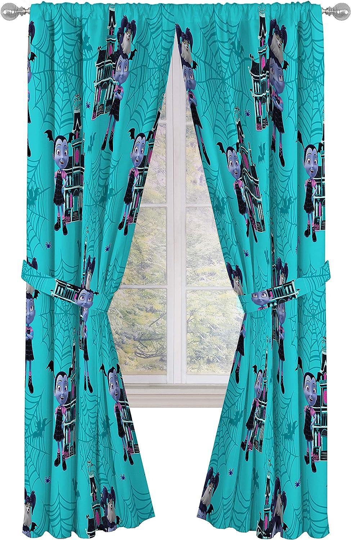 "Jay Franco Disney Vampirina 84"" inch Drapes 4 Piece Set - Beautiful Room Décor & Easy Set up - Window Curtains Include 2 Panels & 2 Tiebacks (Official Disney Product)"
