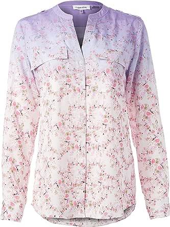 CALVIN KLEIN Women's Printed Crew Roll Sleeve Shirt