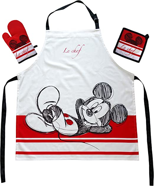 LOVE SWEET LOVE Schürze Mickey /& Minnie EGAN 88x60 cm Kochschürze Baumwolle