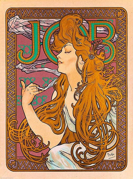 JOB Art Nouveau Style Fine Art Print by Alphonse Mucha of a Beautiful Woman