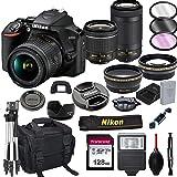 Nikon D3500 DSLR Camera with 18-55mm VR and 70-300mm Lenses + 128GB Card, Tripod, Flash, ALS VARIETY 21pc Bundle