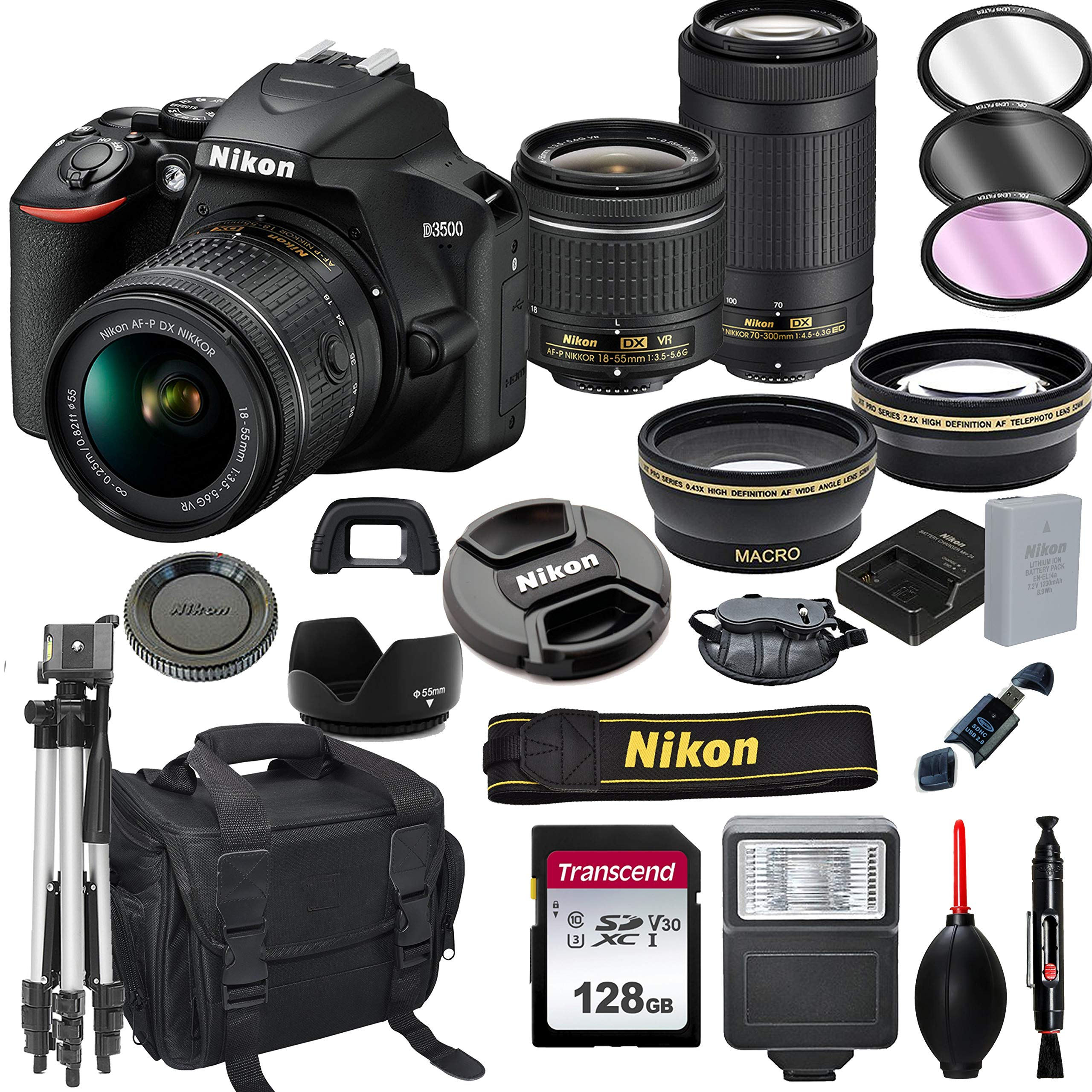 nikon-d3500-dslr-camera-with-18-55mm-vr-and-70-300mm-lenses-128gb-card-tripod-flash-and-more-20pc-bundle