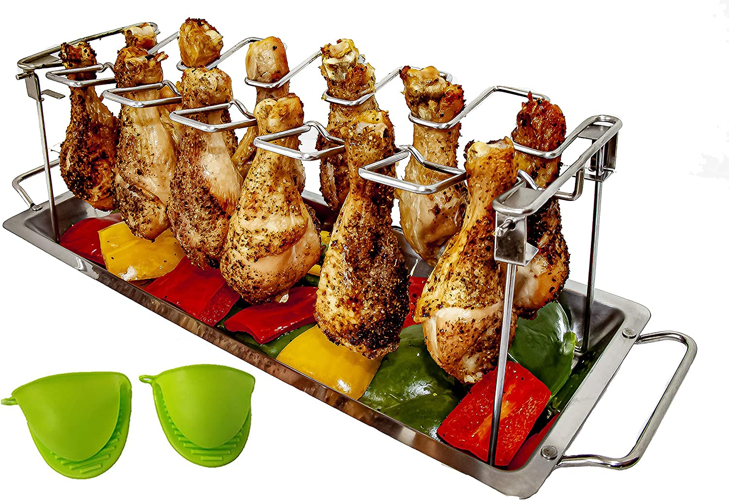 MamAnya's Useful Things Chicken Leg Wing Rack – 12 Slots Stainless Steel Roaster for Grill, Smoker or Oven. Comes with Silicone Mitts and Drip Pan for Vegetables. Non-Toxic BBQ Holder, Dishwasher Safe
