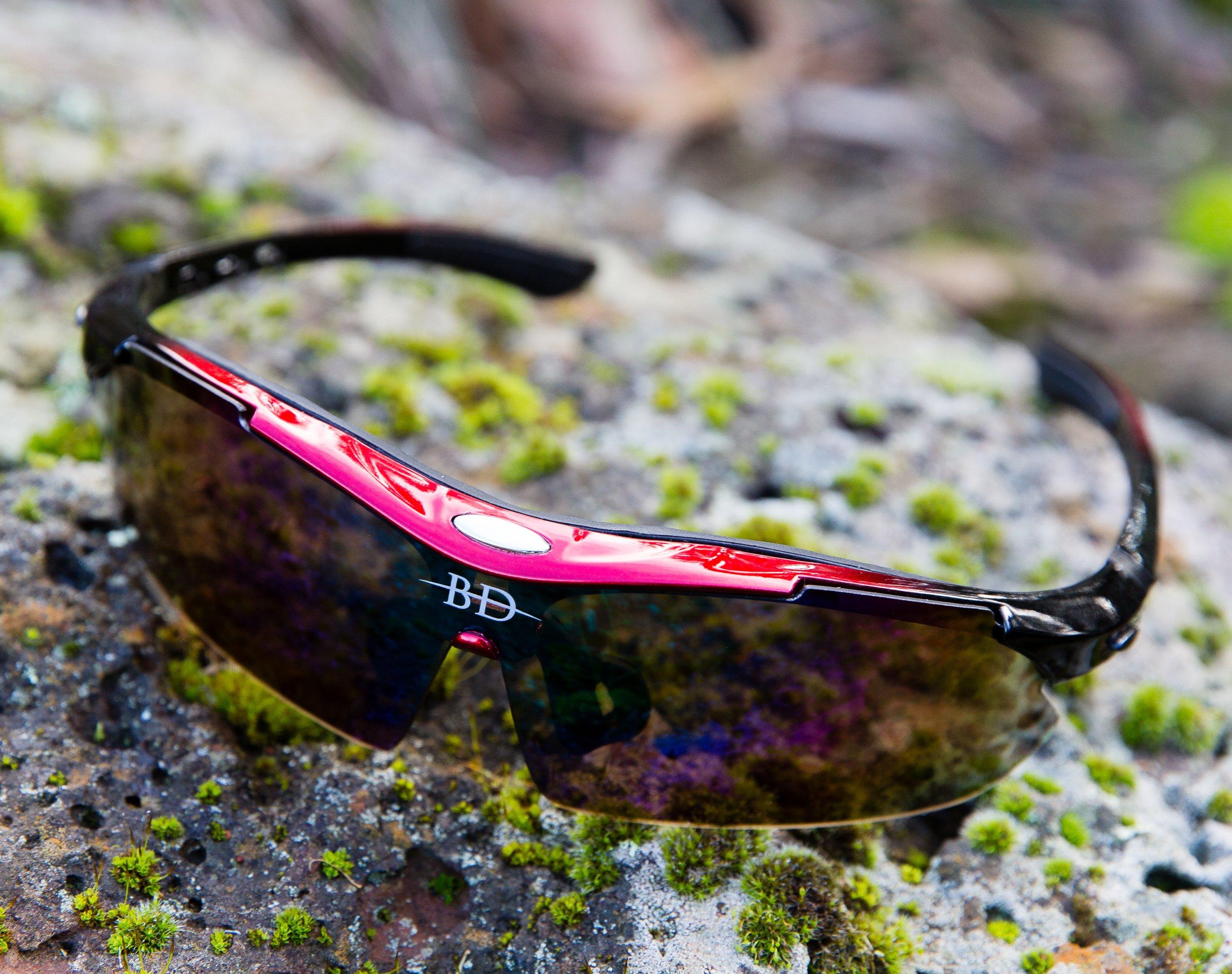 0f0bab306d Sports Sunglasses 5 Interchangeable Lenses Polarized Lens Cycling Glasses  UV400 Protection Men Women Bike Riding Running