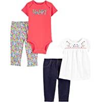 Simple Joys by Carter's Conjunto de Mameluco y pantalón Bebé-Niñas, Pack de 4