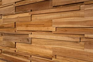 WoodyWalls Long 3D Wall Panels | Wood Planks are Made from 100% Teak | Each Wood Panel is Handmade and Unique | Premium Set of 6 3D Wall Decor Panels | DIY Wood Panels (9.2 sq.ft.) Canyon
